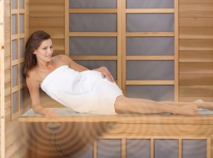 Enjoying the infrared sauna
